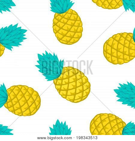 Seamless background with pineapple on white. design for holiday greeting card and invitation of seasonal summer holidays summer beach parties tourism and travel.