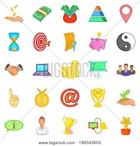 Client support icons set. Cartoon set of 25 client support vector icons for web isolated on white background