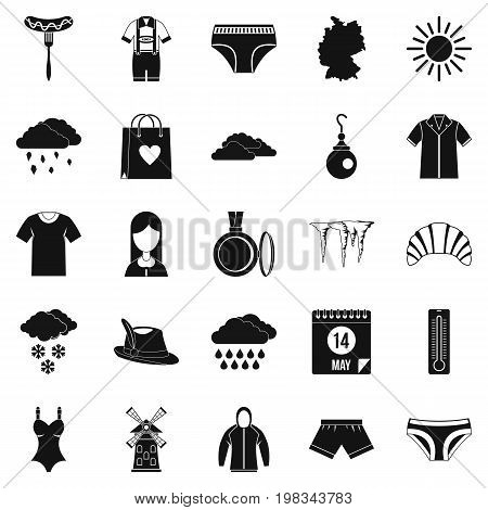 Warm clothes icons set. Simple set of 25 warm clothes vector icons for web isolated on white background