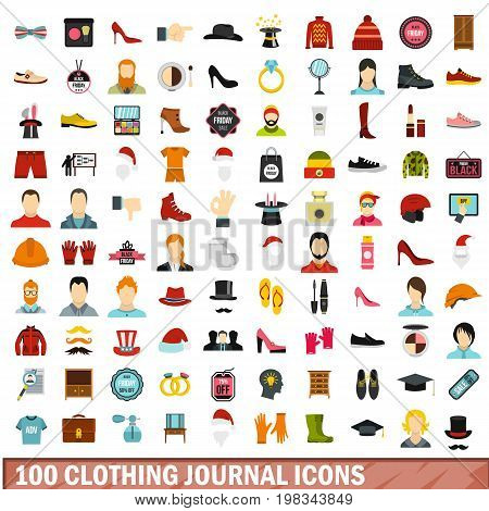 100 clothing journal icons set in flat style for any design vector illustration