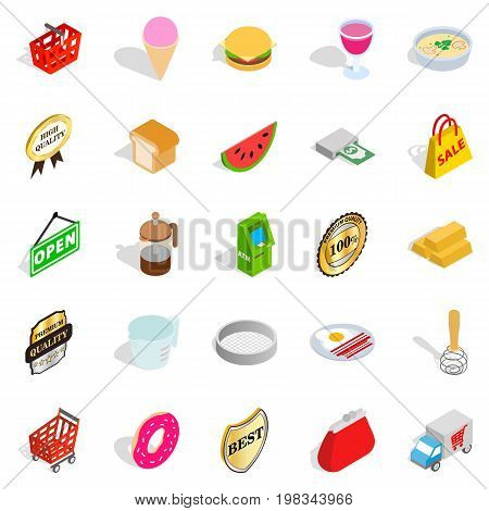 Eatery icons set. Isometric set of 25 eatery vector icons for web isolated on white background