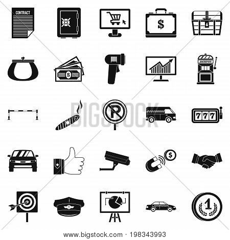 Piece of money icons set. Simple set of 25 piece of money vector icons for web isolated on white background