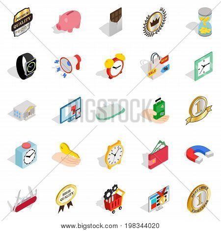 Coin icons set. Isometric set of 25 coin vector icons for web isolated on white background