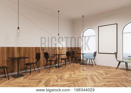 Modern Black Furniture Cafe Interior, Poster Side