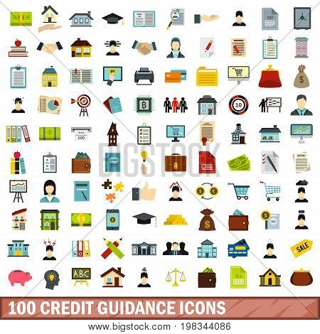 100 credit guidance icons set in flat style for any design vector illustration