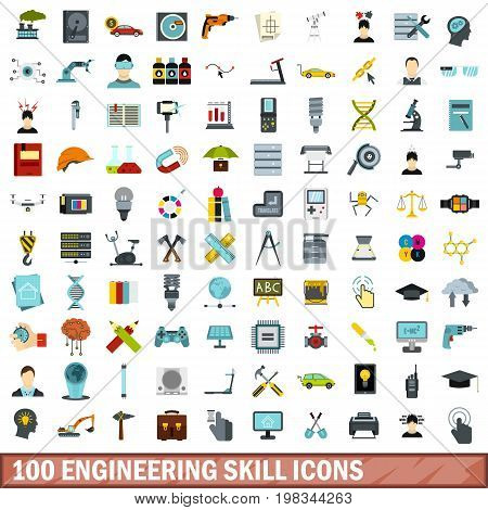 100 engineering skill icons set in flat style for any design vector illustration