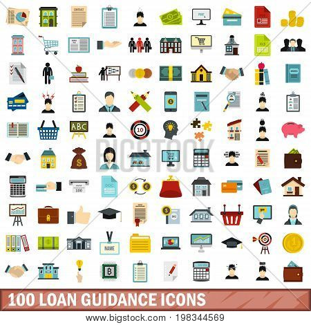 100 loan guidance icons set in flat style for any design vector illustration