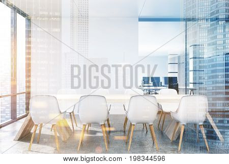 White Conference Room With White Chairs Double