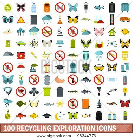 100 recycling exploration icons set in flat style for any design vector illustration