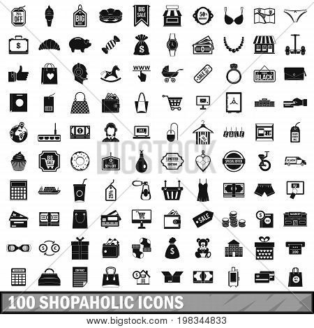 100 shopaholic icons set in simple style for any design vector illustration