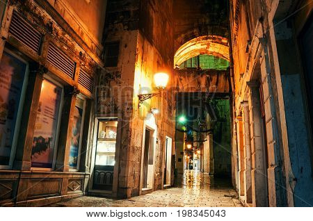 Split, Croatia. Diocletian Palace at night - an ancient roman ruins in Split, Croatia. Very important and popular touristic attraction of the Adriatic coast. UNESCO World Cultural Heritage