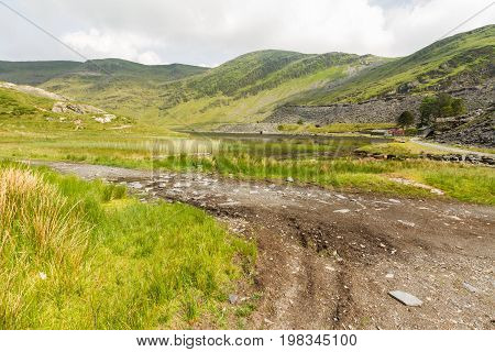 Cwmorthin glacial hanging valley. Cwmorthin Bleneau Ffestiniog Gwynedd Wales United Kingdom.