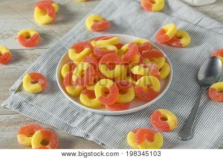 Sweet Sugary Peach Gummy Candy Rings