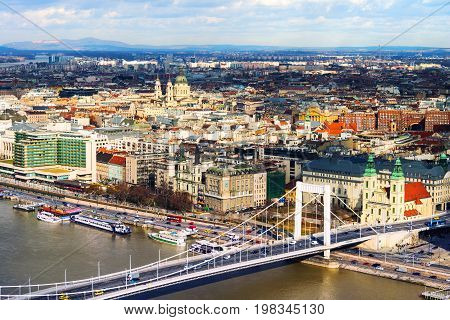 Budapest, Hungary. Aerial view of Budapest, Hungary with clouds. Liberty bridge and historical center of Budapest