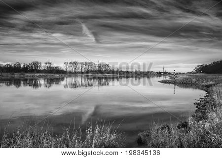 View in black and white over the Elbe near Lutherstadt Wittenberg