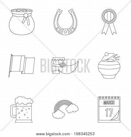 Irish holiday Patrick icon set. Outline style set of 9 irish holiday Patrick vector icons for web isolated on white background