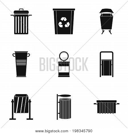 Garbage storage icon set. Simple style set of 9 garbage storage vector icons for web isolated on white background