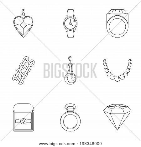 Bijouterie icon set. Outline style set of 9 jewelry vector icons for web isolated on white background