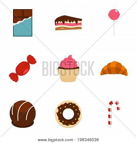 Different sweet icon set. Flat style set of 9 sweet vector icons for web isolated on white background