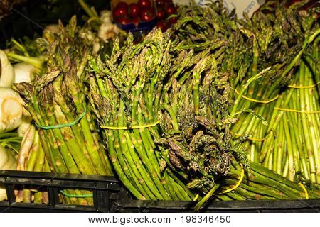 Asparagus Piled On Market Stall.