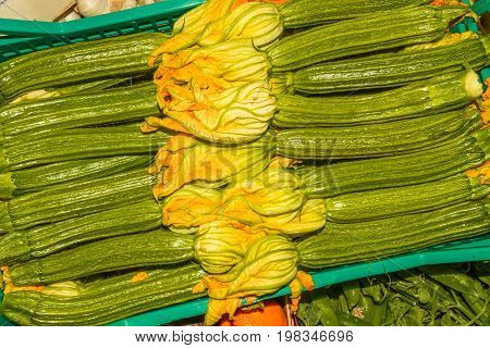 Courgettes Or Zucchini Arranged Market Stall