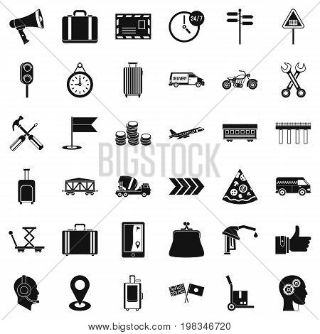 Fast delivery icons set. Simple style of 36 fast delivery vector icons for web isolated on white background