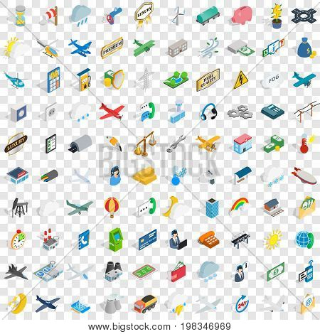 100 aeroplane icons set in isometric 3d style for any design vector illustration