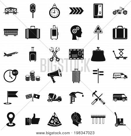 Pay for delivery icons set. Simple style of 36 pay for delivery vector icons for web isolated on white background