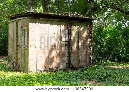 Vintage Shed In Garden. Old Abandoned Wooden Shed Among The Greenery In The Garden On  Sunny Summer
