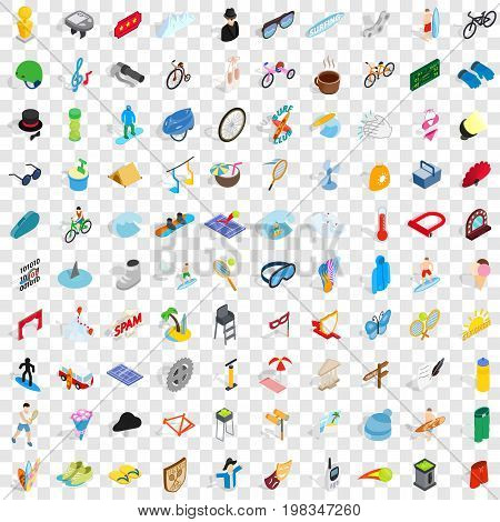 100 amusement icons set in isometric 3d style for any design vector illustration