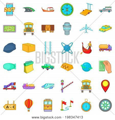 Fast delivery icons set. Cartoon style of 36 fast delivery vector icons for web isolated on white background