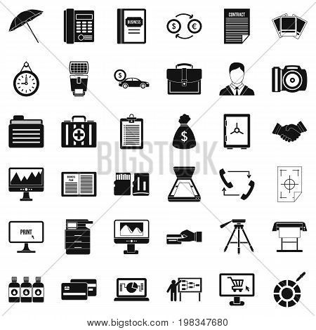 Finance department icons set. Simple style of 36 finance department vector icons for web isolated on white background
