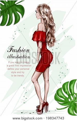 Beautiful young woman in red dress. Hand drawn fashion woman. Stylish girl. Fashion look. Sketch. Vector illustration.