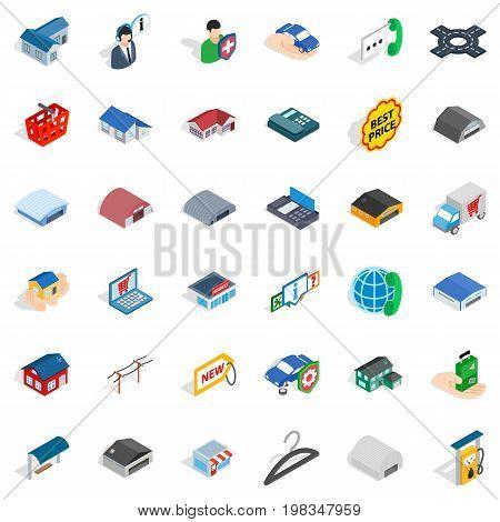 Deposit icons set. Isometric style of 36 deposit vector icons for web isolated on white background