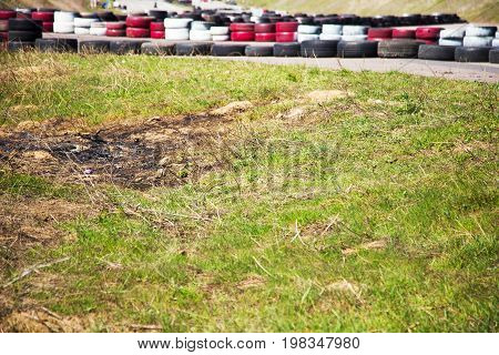 Burnt Place After Controlled Burn - Mound Of Ashes After Material Is Burned Down. Heap Is Located On