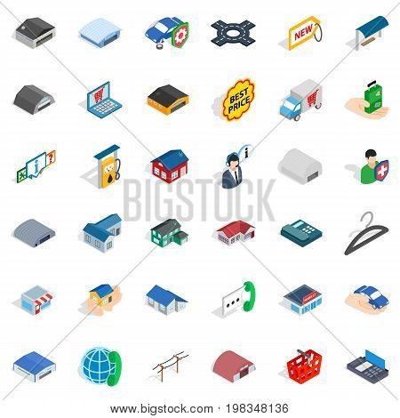 Privacy deposit icons set. Isometric style of 36 privacy deposit vector icons for web isolated on white background