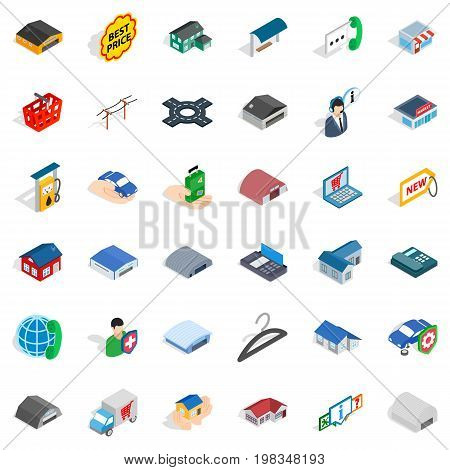 Safety deposit icons set. Isometric style of 36 safety deposit vector icons for web isolated on white background