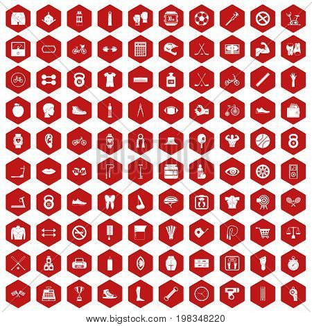 100 kettlebell icons set in red hexagon isolated vector illustration