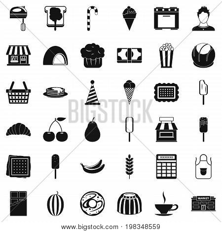 Tasty dessert icons set. Simple style of 36 tasty dessert vector icons for web isolated on white background