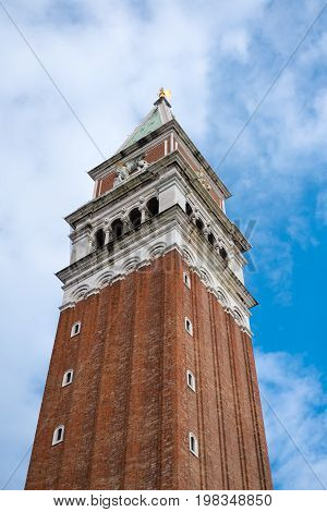 St Mark's Campanile the bell tower of St Mark's Basilica located in Piazza San Marco in Venice Italy.
