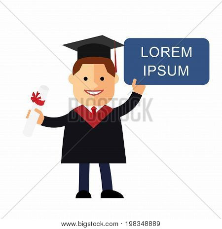 Boy cartoon graduates in the mantle with a sign and diploma in his hands. Vector illustration in flat design. Space for text