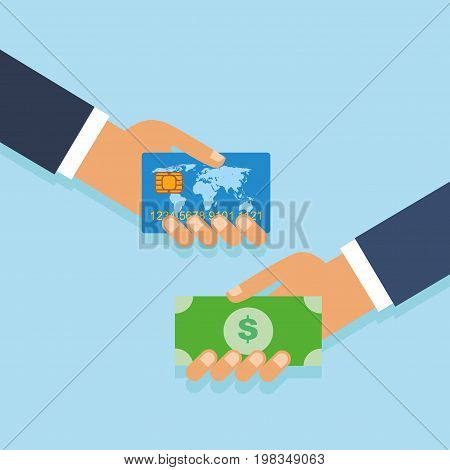 Concept of cashing money from a bank card. Hand giving money to other hand. Hand with a bank card
