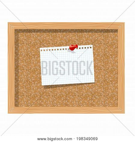 Cork board with pinned paper notepad sheets realistic vector illustration. vector illustration board for notes. A noteboard made of cork with some pin and blank paper