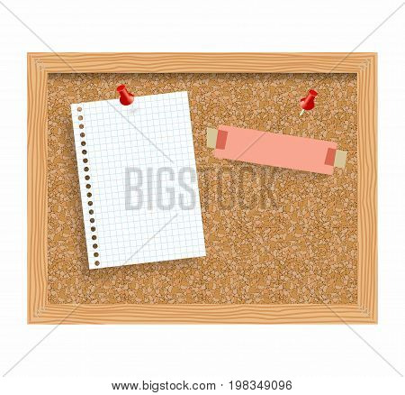 Cork board with pinned paper notepad sheets realistic vector illustration. vector illustration board for notes. A noteboard made of cork with some pins and blank papers