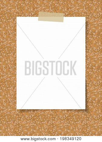 Clean white sheet of paper on the background of a cork board