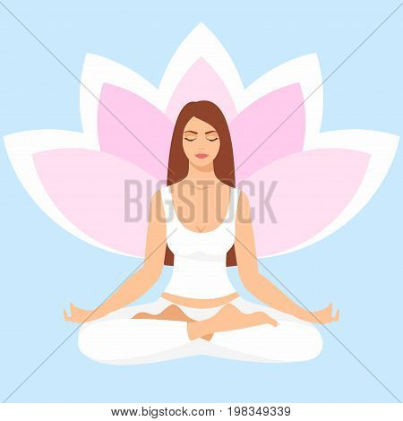 Young woman sitting in yoga lotus pose. Meditating girl illustration. Yoga woman, meditation, anti-stress people with speech bubble.