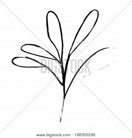 blurred silhouette of branch with leaves oval vector illustration