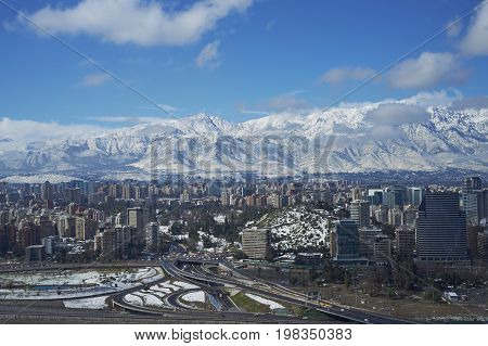 Santiago, Chile - July 15, 2017: City of Santiago, capital of Chile, in winter after a fresh fall of snow.