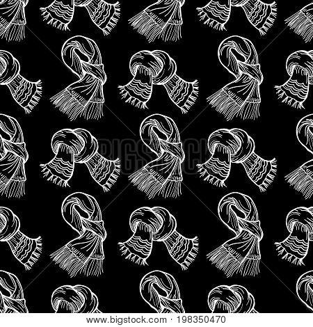White scarves on blackbackdrop, vector winter scarves seamless pattern
