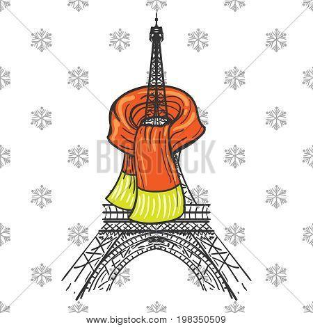 Winter Paris concept, vector illustration. Eiffel tower in scarf
